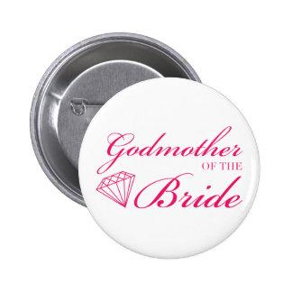 Madrina del diamante del rosa de la novia pin
