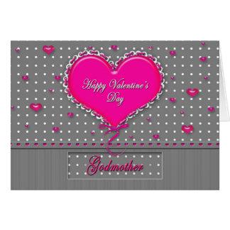 Madrina del el día de San Valentín gris/rosa/lunar Tarjeta De Felicitación