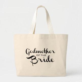 Madrina del negro del tote de la novia bolsa de tela grande