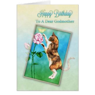 Madrina, feliz cumpleaños con un gato juguetón tarjeta de felicitación