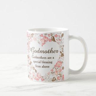 Madrina floral personalizada del corazón taza de café