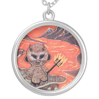 madrobot ill dooker devil round pendant necklace