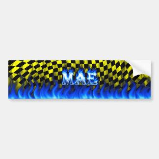 Mae blue fire and flames bumper sticker design.