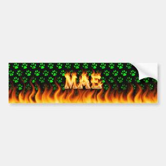 Mae real fire and flames bumper sticker design.