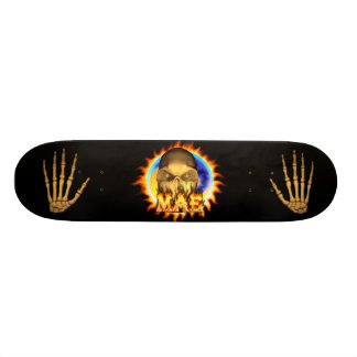 Mae skull real fire and flames skateboard design