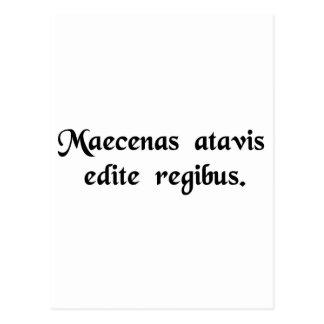 Maecenas, born of monarch ancestors. postcard