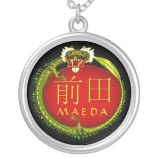 Maeda Monogram Dragon Silver Plated Necklace