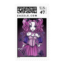 valentine's, day, maegan, valentine, gothic, cute, pigtails, butterfly, pink, ribbon, fairy, faery, faerie, fantasy, art, myka, jelina, Stamp with custom graphic design