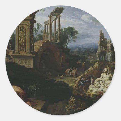 Maerten van Heemskerck- Landscape con St Jerome Pegatina Redonda