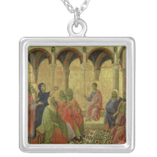 Maesta: Christ Among the Doctors, 1308-11 Square Pendant Necklace