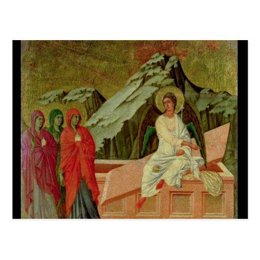 Maesta: Los tres Maries en la tumba de Cristo Postal