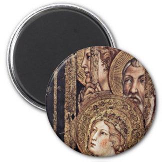 Maestà Madonna Enthroned como el santo patrón Surr Imán Redondo 5 Cm