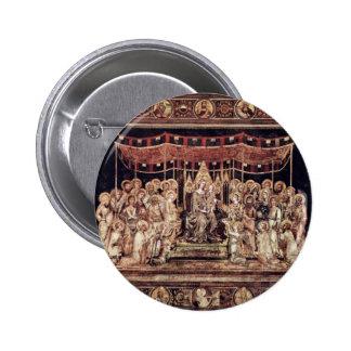 Maestà Madonna Enthroned como el santo patrón Surr Pin Redondo De 2 Pulgadas