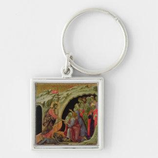 Maesta: Pendiente en el limbo, 1308-11 Llavero Cuadrado Plateado