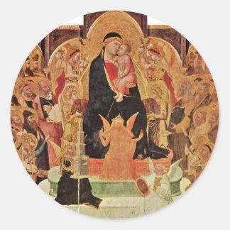 Maestà. Por Ambrogio Lorenzetti Etiqueta Redonda