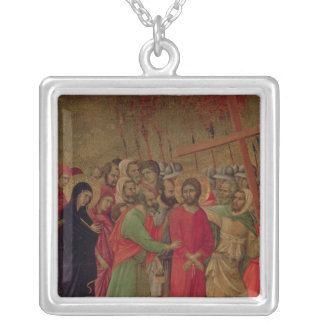 Maesta: The Road to Calvary, 1308-11 Silver Plated Necklace