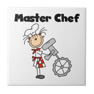 Maestro cocinero - hembra azulejo cuadrado pequeño