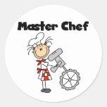 Maestro cocinero - hembra etiqueta redonda