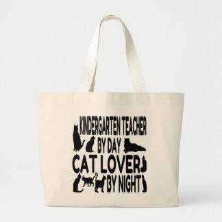 Maestro de jardín de infancia del amante del gato bolsas lienzo