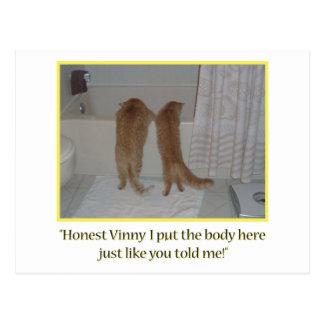 Mafia Cats Humor Postcard