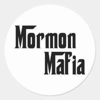 Mafia mormona etiqueta redonda