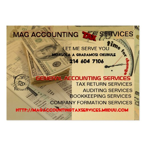 Mag accounting tax services moisola agbadamosi large for Tax business cards