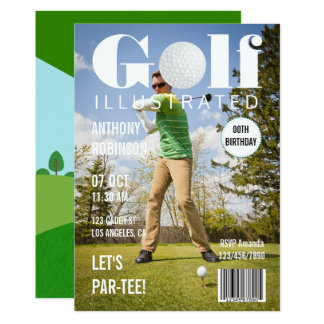 Magazine Celebrity Golf Birthday Party photo Card