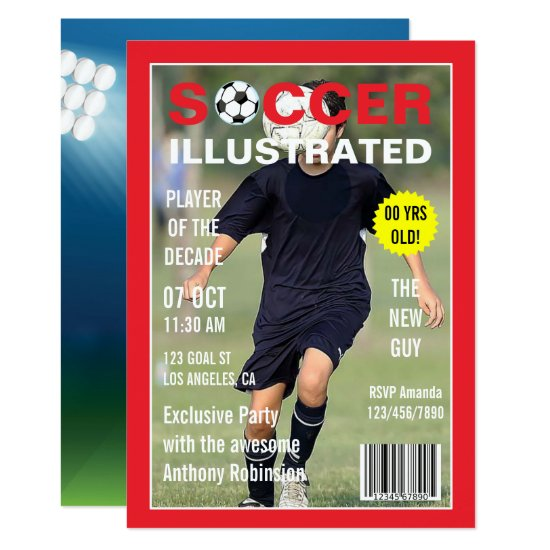 Magazine Celebrity Soccer Birthday Party photo Invitation