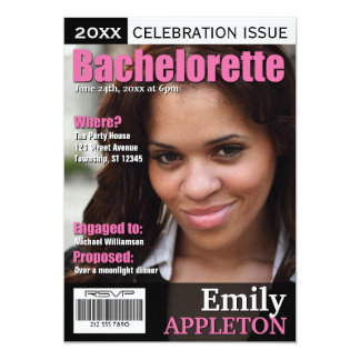 Magazine Cover Fuchsia Bachelorette Invitations