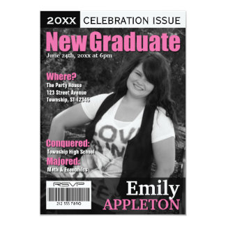 Magazine Cover Fuchsia Graduation Invitations