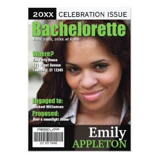 Magazine Cover Green Bachelorette Invitations