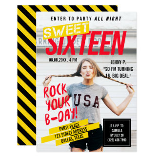 Magazine Cover Look | Sweet Sixteen Party Card
