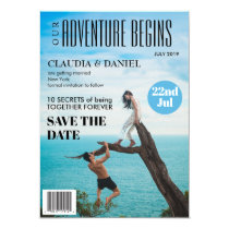 Magazine Cover Photo Wedding Save the Date Card