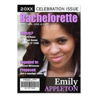 Magazine Cover Purple Bachelorette Invitations