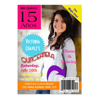 Magazine Cover Quinceanera 15th Invitation