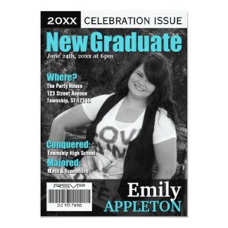 Magazine Cover Turquoise Graduation Invitations