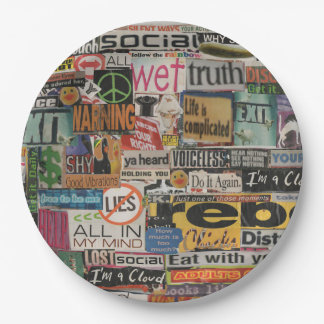 magazine cutouts word cloud textual art collage paper plate