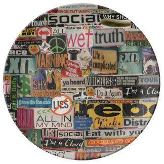 magazine cutouts word cloud textual art collage plate
