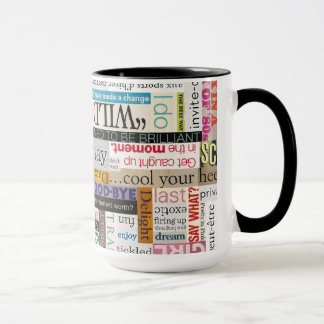 Magazine Print Phrase Typography Coffee Mug