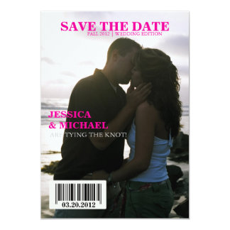 Magazine Save the Date 5x7 Paper Invitation Card