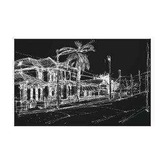 Magazine Street, New Orleans. Night Sky Canvas Print
