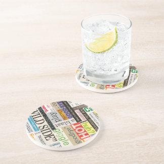 Magazine Text Round Sandstone Drink Coaster