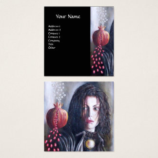 MAGDALEN AND POMEGRANATE Black White Red Square Business Card