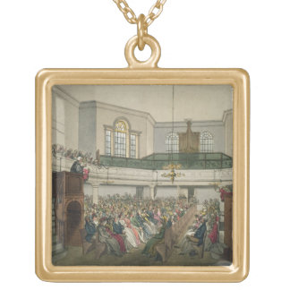 Magdalen Chapel, from 'Ackermann's Microcosm of Lo Square Pendant Necklace