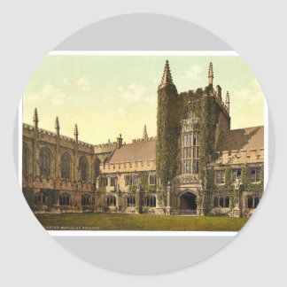 Magdalen College, Founder's Tower and Cloisters, O Classic Round Sticker