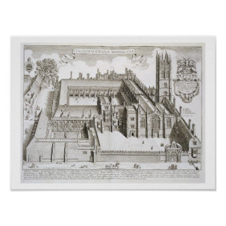 Magdalen College, Oxford, from 'Oxonia Illustrata' Poster