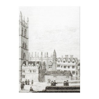 Magdalen College, Oxford in the 17th century Canvas Print