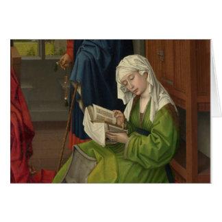 Magdalen en la lectura verde tarjeta de felicitación