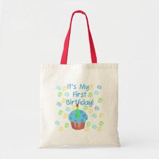 Magdalena azul con de la vela cumpleaños primero bolsa tela barata