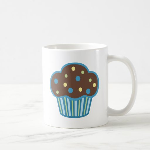 Magdalena azul del chocolate taza de café